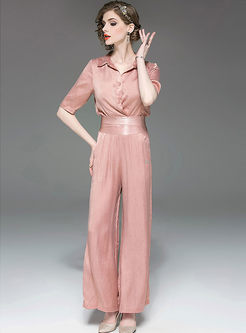 Casual Turn Down Collar Blouse & Wide Leg Pants