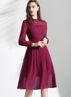 Elegant Stand Collar Slim A Line Dress