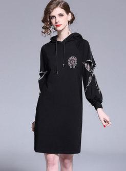 Black Long Sleeve Hooded Shift Dress