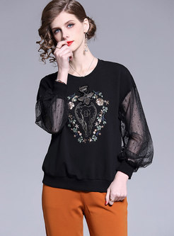 Casual Splicing Embroidered Lantern Sleeve Sweatshirt