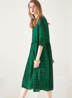 Plus Size O-neck Half Sleeve Plaid Dress
