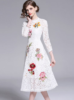 Elegant Lace Embroidered O-neck A Line Dress
