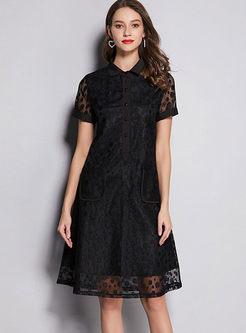 Brief Black Lapel Lace Slim Skater Dress