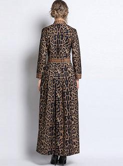 Long Sleeve Leopard Maxi Prom Dress