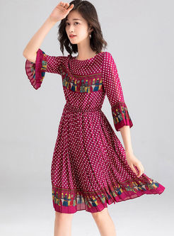 O-neck Flare Sleeve Polka Dot Dress