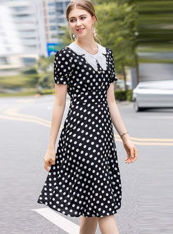 Elegant Polka Dot Gathered Waist Slim Skater Dress