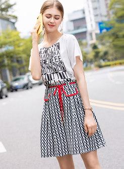 Letter Print O-neck T-shirt & Tie-waist A Line Skirt