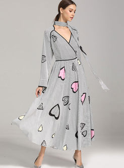 Deep V-neck Heart Print Maxi Dress