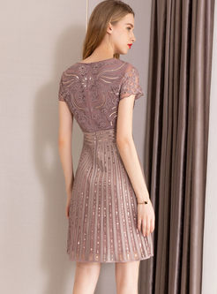 O-neck Mesh Sequined Waist Mini Dress