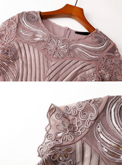O-neck Mesh Sequined Waist Mini Dress