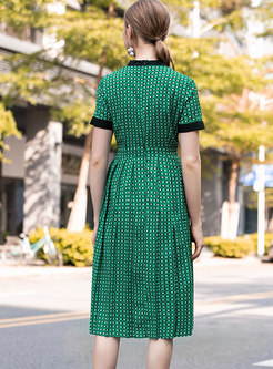 Color-blocked O-neck Gathered Waist Slim Dress
