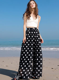 Casual Polka Dot High Waist Loose Pants