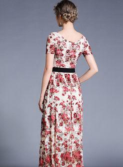 O-neck Short Sleeve Printed Waist Maxi Dress
