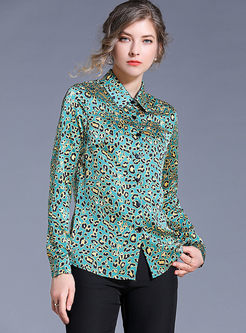 Lapel Long Sleeve Leopard Print Blouse
