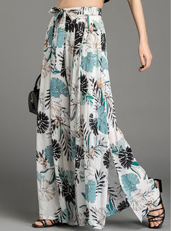 Bowknot High Waist Slit Printed Pants
