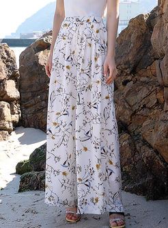 Casual Chiffon Printed Beach Printed Pants