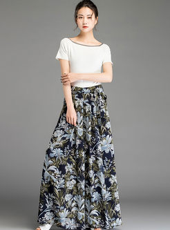 High Waist Printed Slit Chiffon Pants