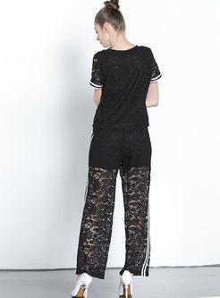 Casual O-neck T-shirt & Lace Wide Leg Pants