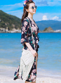 Chic Printed Halter Bowknot Cover-up Swimwear