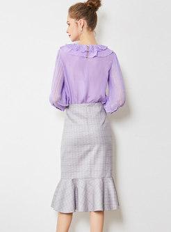 Elegant Turn Down Collar Blouse & Plaid Mermaid Skirt