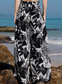 Fashion Beach Print High Waist Wide Leg Pants