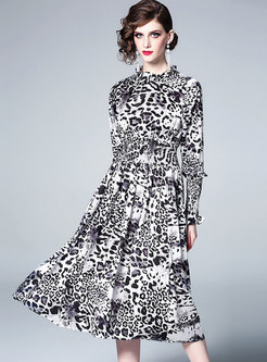 Leopard Ruffled Collar Elastic Waist A Line Dress