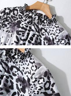 Leopard Ruffled Collar Elastic Waist A Line Dress
