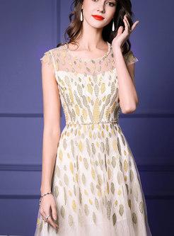 Fashion Yellow Mesh Floral Splicing Maxi Dress