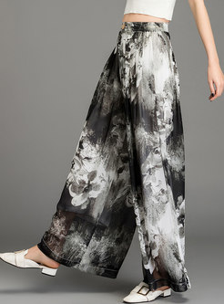 Casual Loose Print Holiday Wide Leg Pants