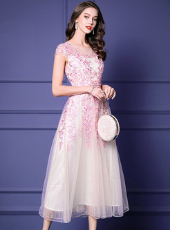 Pink Mesh Sweet Diamond Embroidered Maxi Dress
