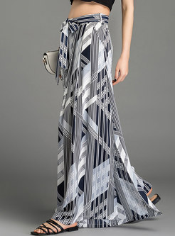 Hit Color Split Tied High Waist Palazzo Pants