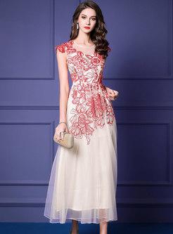 Solid Color Slim High Waist Beaded Mesh Maxi Dress