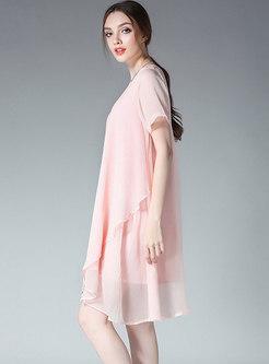 Fashion Asymmetric Chiffon Shift Dress