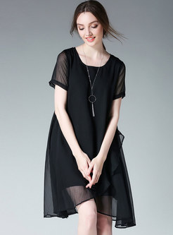 Stylish Plus-size Black O-neck Shift Dress
