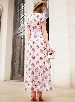 Standing Collar Short Sleeve Printed Dress