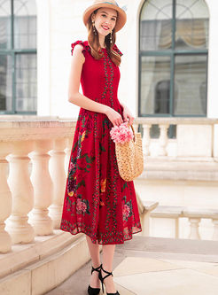 Elegant Sleeveless Falbala Slim Dress