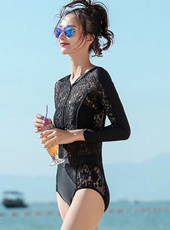 V-neck Long Sleeve Hollow Out Swimwear