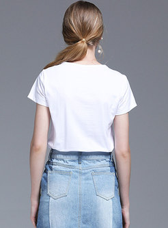 Casual Cotton O-neck Print T-shirt