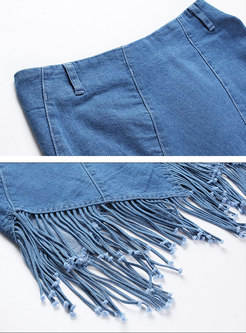 Denim High Waist Tassel Asymmetric Sheath Skirt