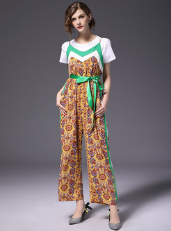 Stylish Print Belted Wide Leg Overalls
