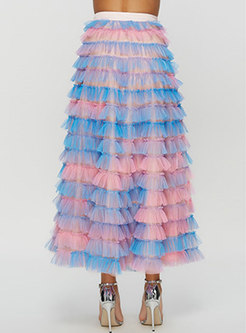 Chic Color-blocked Bowknot Cake Skirt