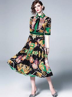 Elegant Print Lapel Bowknot Waist Skater Dress