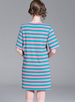 Casual Striped Cartoon Pattern T-shirt Dress