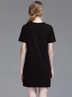Casual Cartoon Pattern O-neck T-shirt Dress