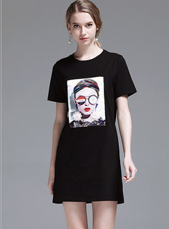 Casual Cartoon Pattern O-neck T-shirt Dress