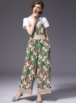 Casual White T-shirt & Print Gathered Waist Overalls