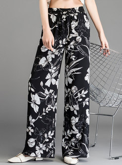Casual Print Elastic Waist Slim Wide Leg Pants