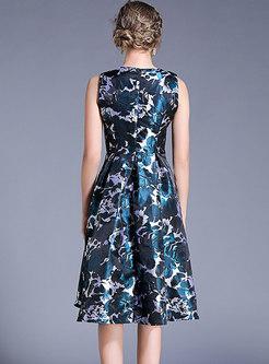 Stylish Jacquard High Waist A Line Dress