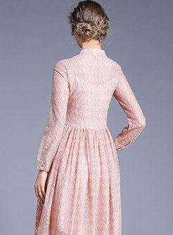 Trendy Stand Collar Lace Pure Color Pleated Dress