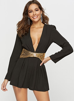 Sexy Deep V-neck Bowknot Slim Rompers